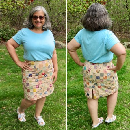 Side-by-side front and back views of Tina wearing the skirt.