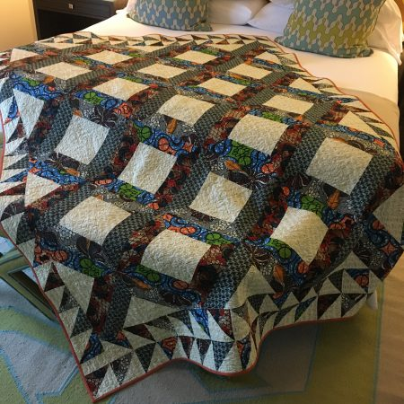 Patchwork quilt made from African prints.